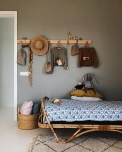 La camera dei più piccoli arredata in stile boho chic