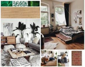 Allestimento d'interni in stile boho chic con complementi raffinati, eleganti e colorati