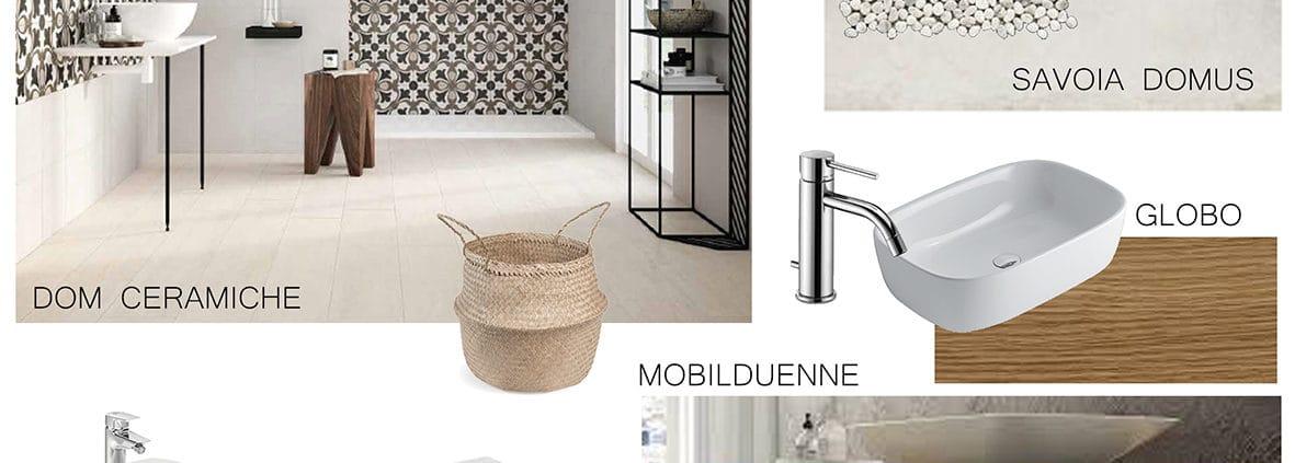 Moodboard di progetto che definisce la ricerca di materiali per un bagno in stile boho chic