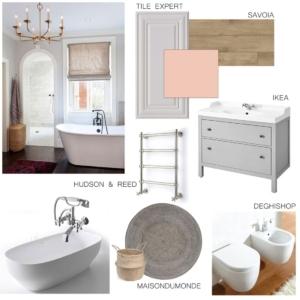 Moodboard di progetto che definisce gli elementi scelti per un bagno in stile vintage chic