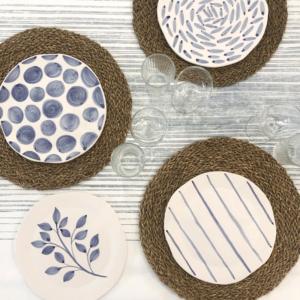 Set di 4 piatti realizzati e dipinti a mano